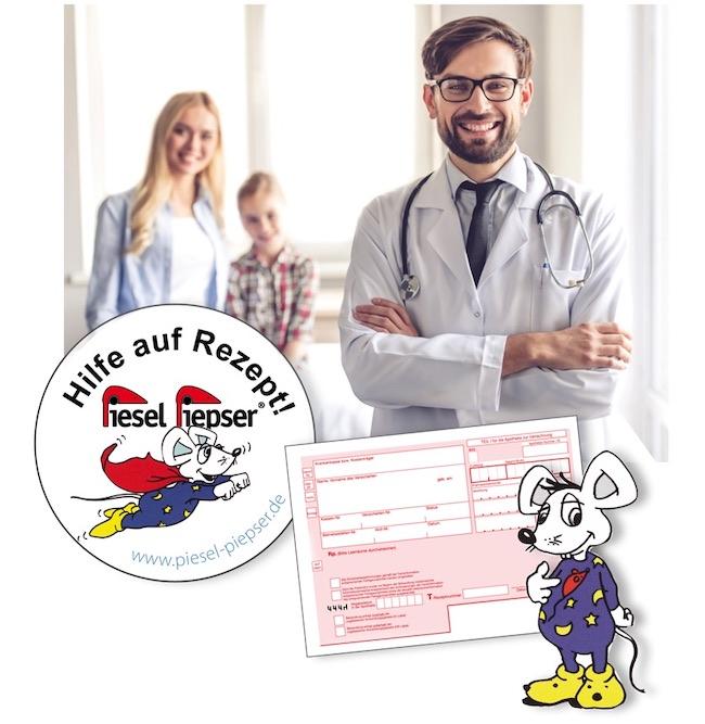 Ein Piesel Piepser Funki oder Classic kann vom Arzt auf Rezept verordnet werden, um das Bettnässen bei Kindern zu therapieren
