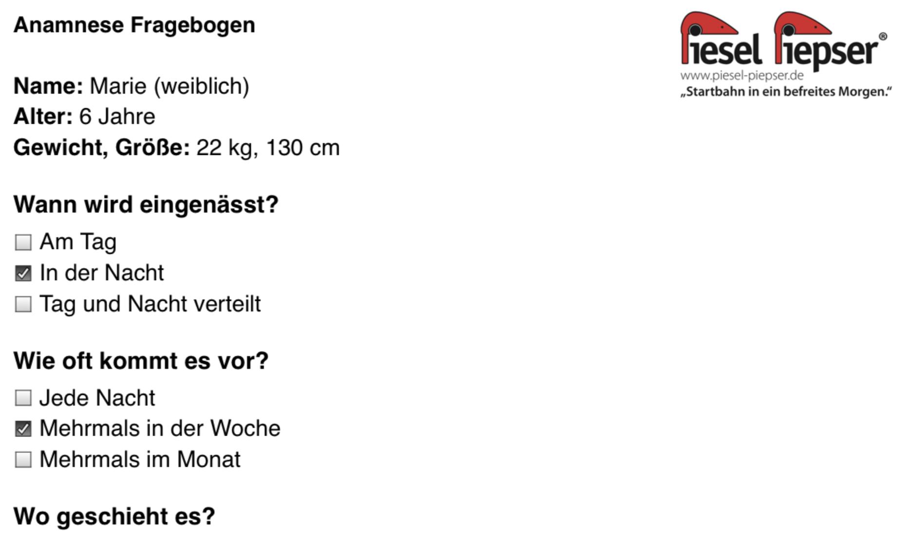 Der Screenshot zeigt einen Ausschnitt aus dem PDF-Export der Piesel Piepser App eines ausgefüllten Anamnese Fragebogens