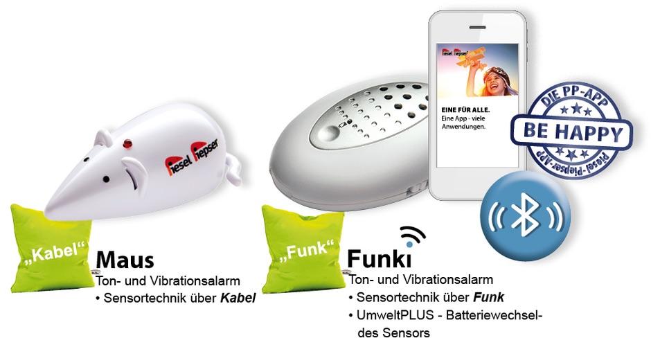 Beide Produkte auf einen Blick: der Piesel Piepser Classic als Maus mit Kabel, der Funki als Sendeapparat mit Smartphone App-Empfänger